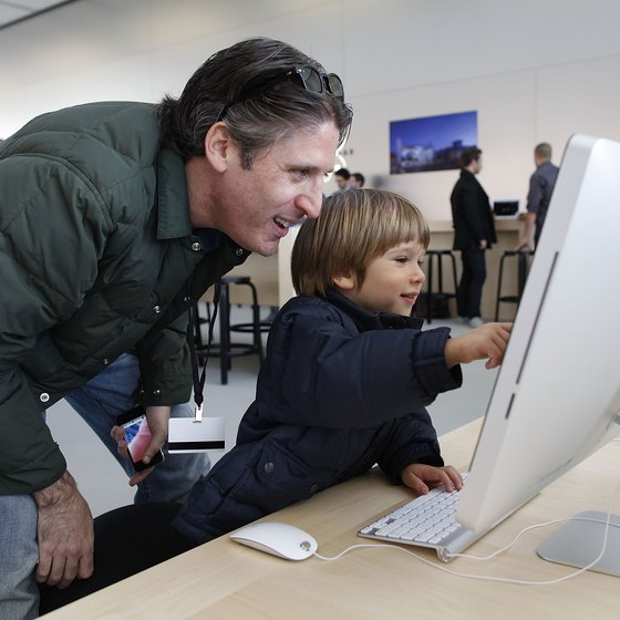 Using a Mac at an Apple store.