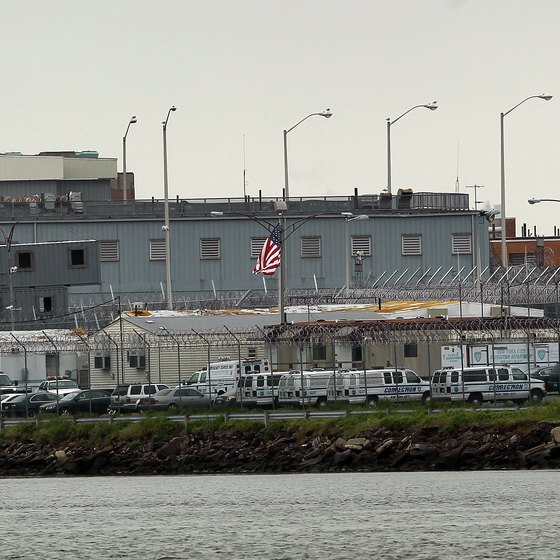 Rikers Island as seen from the river.
