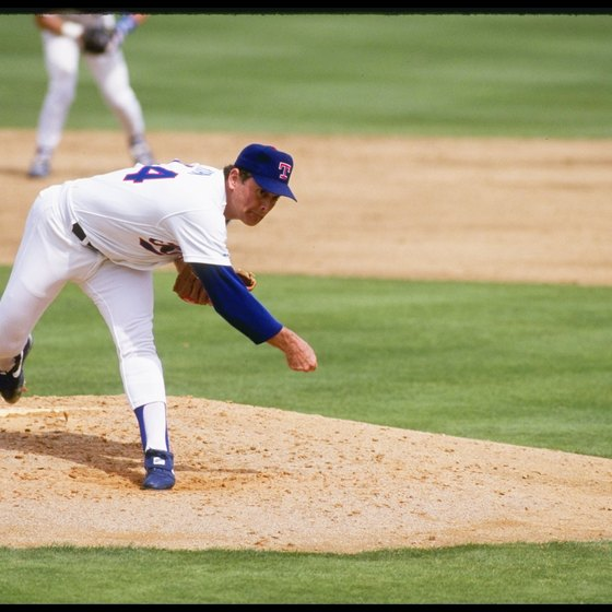 Texas Rangers' legendary Nolan Ryan blasts a fastball against the 1992 Chicago White Sox.