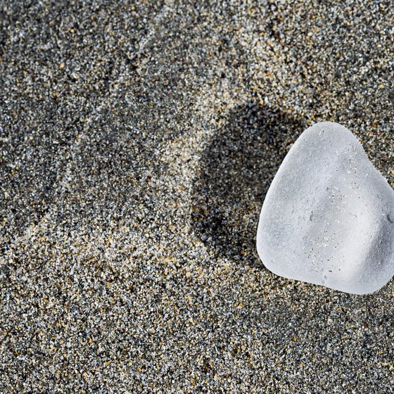 Sea glass washes ashore with the high tide in Florida.