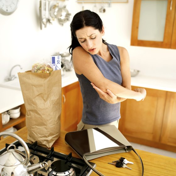 Elbow pain from lifting a grocery bag could be tennis elbow.