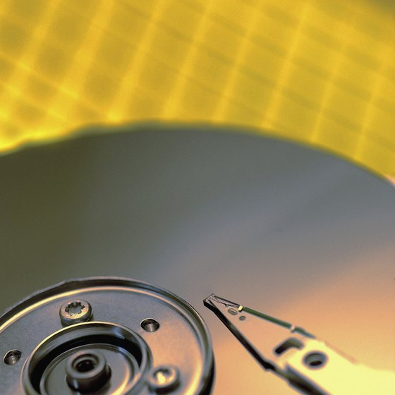 Hard drives store files on spinning magnetic platters.