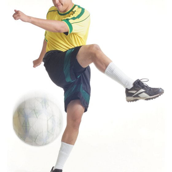 Hip adduction is often used to kick a soccer ball.