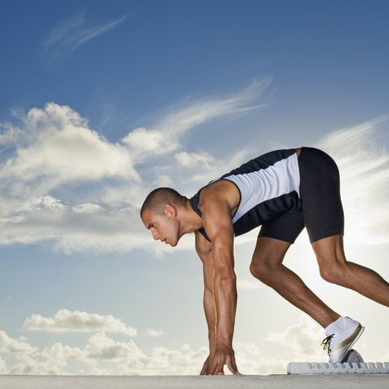 Starting blocks are used by 400-meter runners to get a more powerful launch at the beginning of the race.