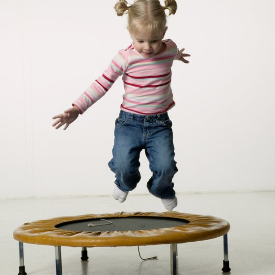 Supervise small children on a mini trampoline to prevent injuries.