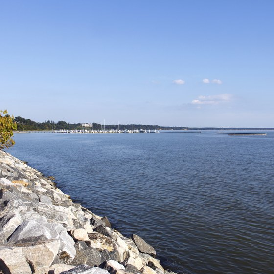 Follow the James River east to the Chesapeake Bay and Atlantic Ocean.
