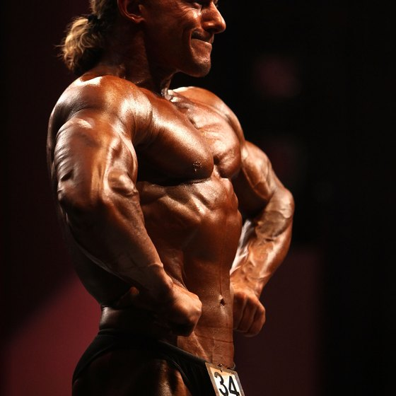 A bodybuilder shows off his front lat spread at the 2009 Mr. Universe competition.