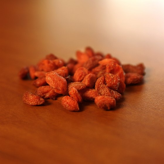 Goji berries boost your intake of fiber, vitamin A and vitamin C.