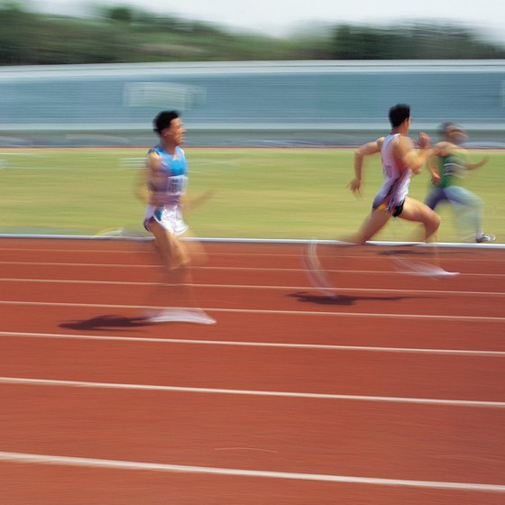 A running track provides a level environment for running upon.