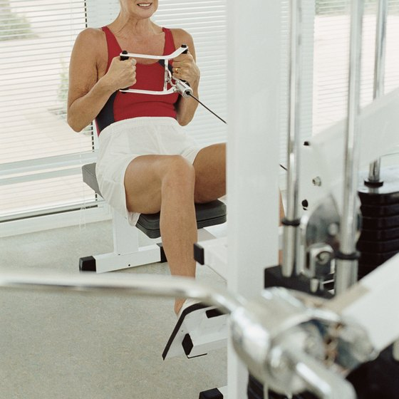 Stacked weight machines offer exercises for many muscles in the body.