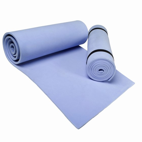 Yoga mats come in different sizes and textures.