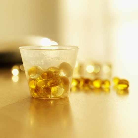 Fish oil capsules are enriched with vitamins.