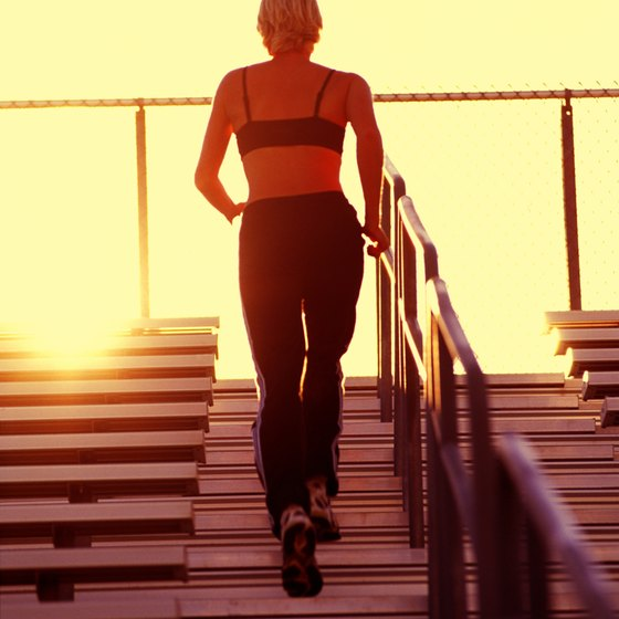 After you run the stairs, use them to stretch.