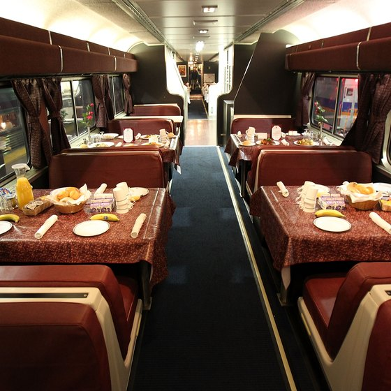 Passengers can eat in dining cars while touring the East Coast by train.
