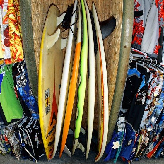Surf shop at Santa Monica Beach, one of the surfing spots near Claremont, California.