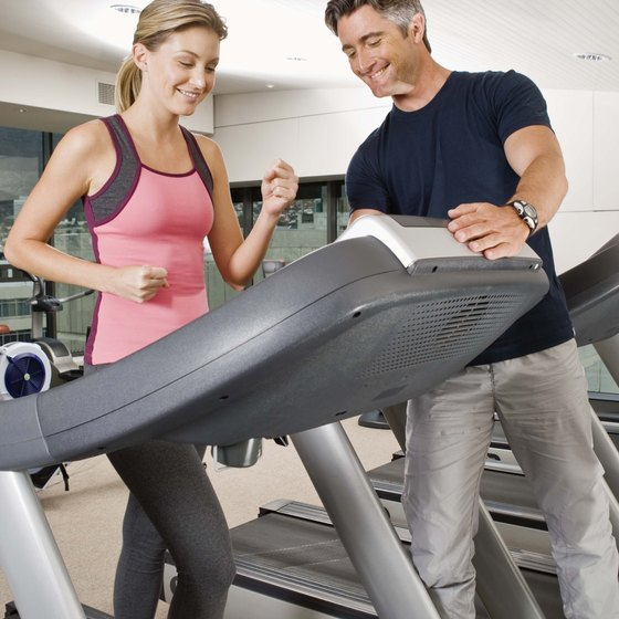 Walking on a treadmill is an example of aerobic cardiovascular exercise.