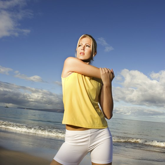 Stretching before exercise helps reduce your risk of injury.