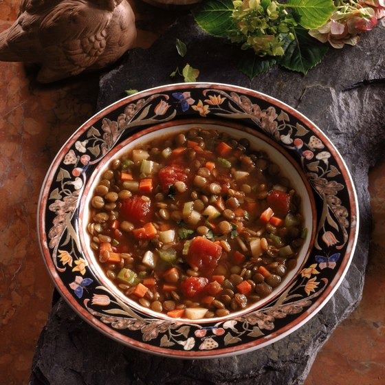 A meal of lentil soup with vegetables provides antioxidants and other phytochemicals.