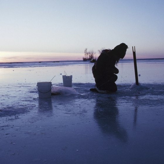 A winter camping adventure at Bear Lake could include ice fishing.