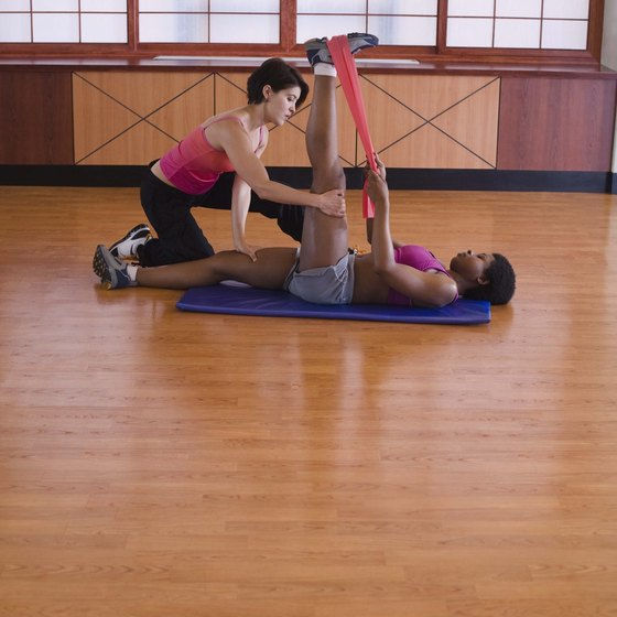 Do calf stretches with a resistance band.