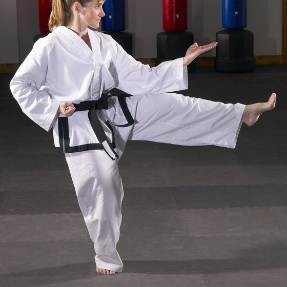 Karate-selected leg exercises are great for strength, flexibility and balance.
