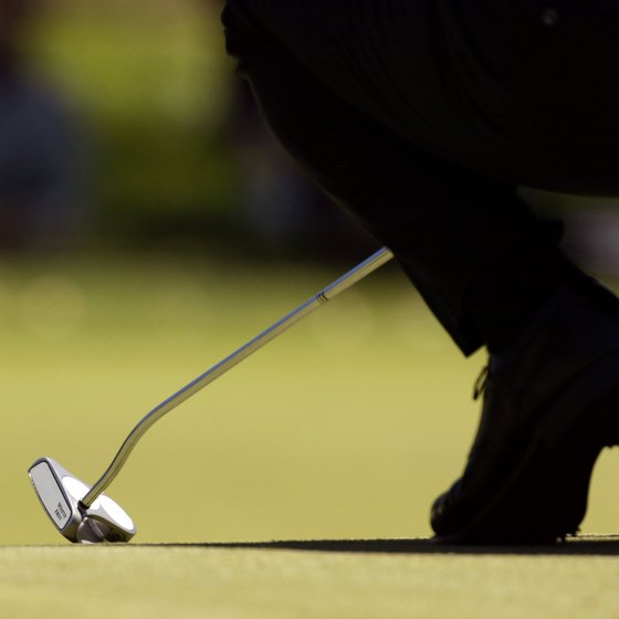 A heel-shafted, offset putter with a mallet head.