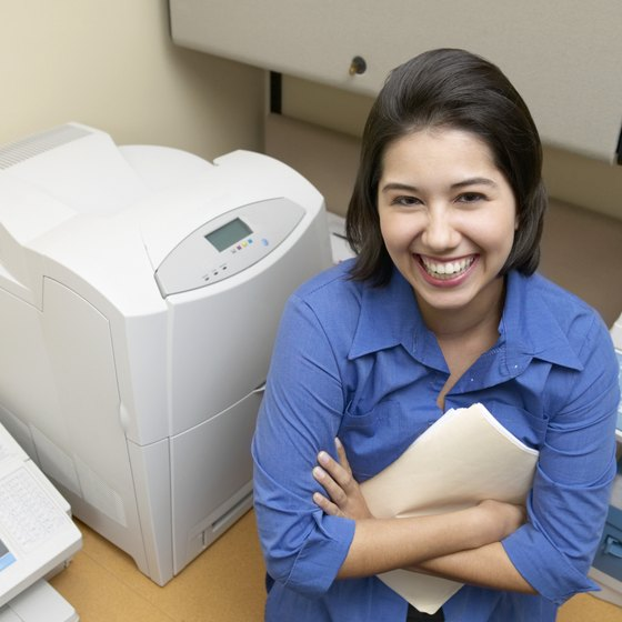 A laser printer's drum holds, then deposits, toner onto the paper.