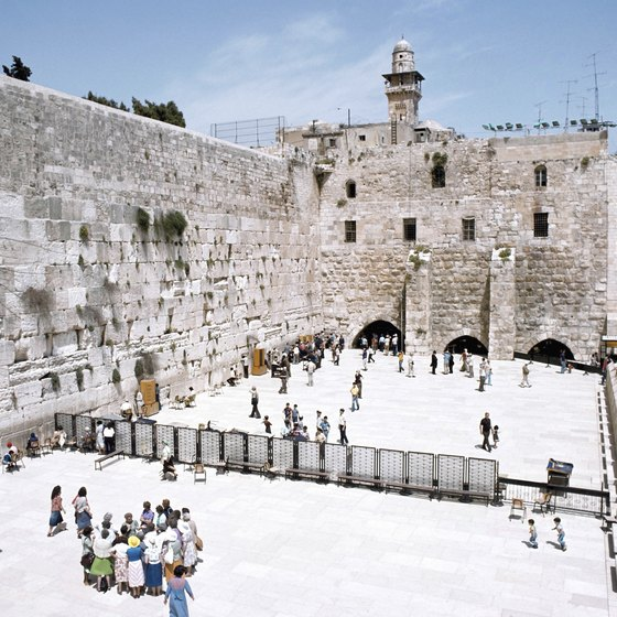 Many visitors to Israel pray at the Western Wall.