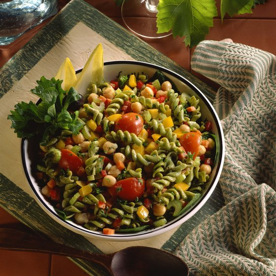 Garbanzo beans add protein and fiber to pasta salads.