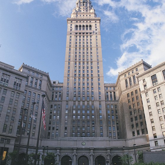 The Terminal Tower rises high above the Cleveland skyline.