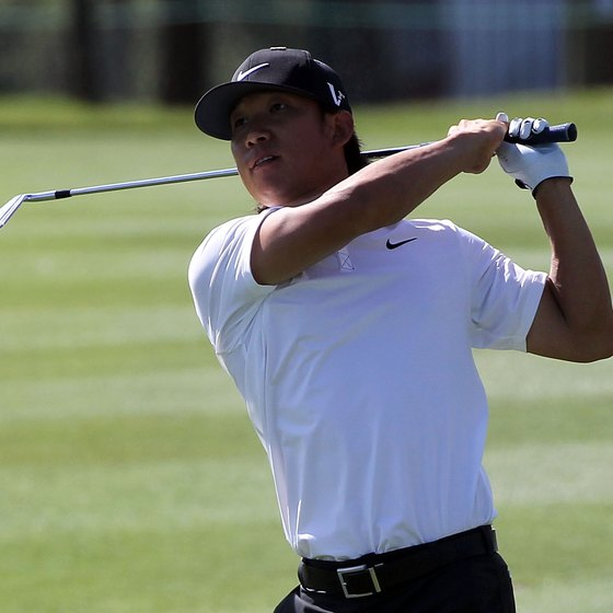 Ryder Cup veteran Anthony Kim chokes up about 2 inches on all of his clubs.