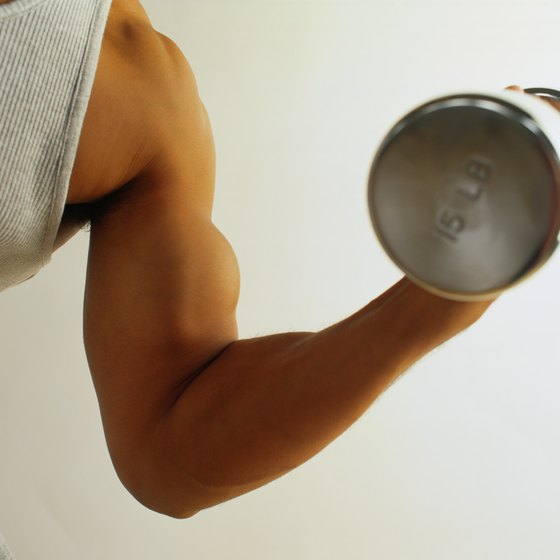 Dumbbells that weigh 15 pounds can be challenging for both men and women.