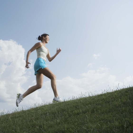 Running uphill burns calories faster than running on flat ground.
