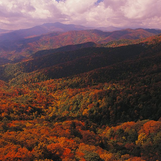 Blowing Rock overlooks the mountains in the Pisgah National Forest.