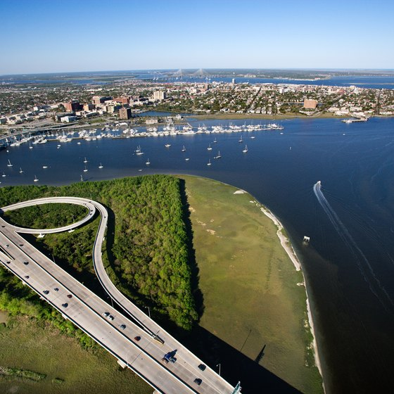 Aerial view of a bridge over Ashley River, Charleston, South Carolina.