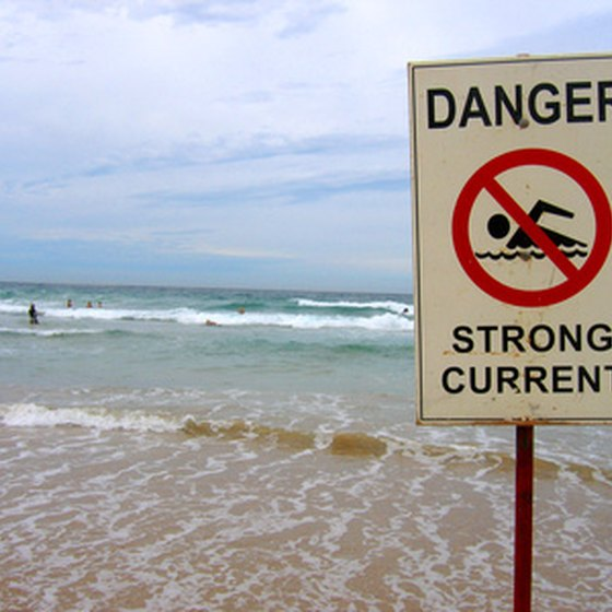 Sign warning of dangerous current.