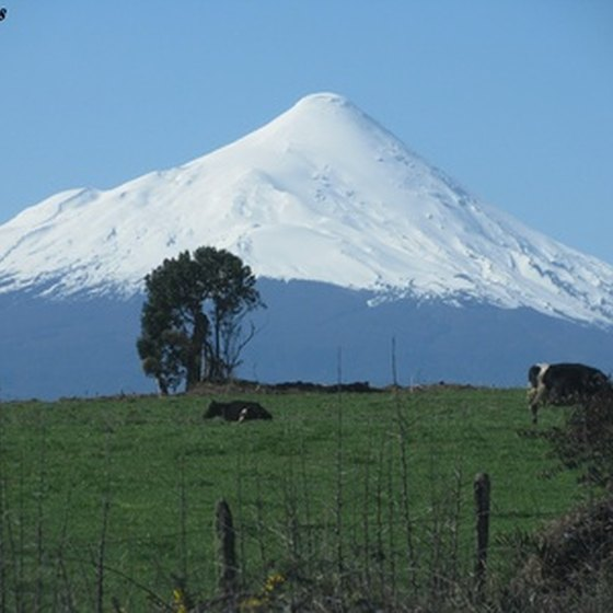 The snow-covered peak of Volcano Osorno in Chile.