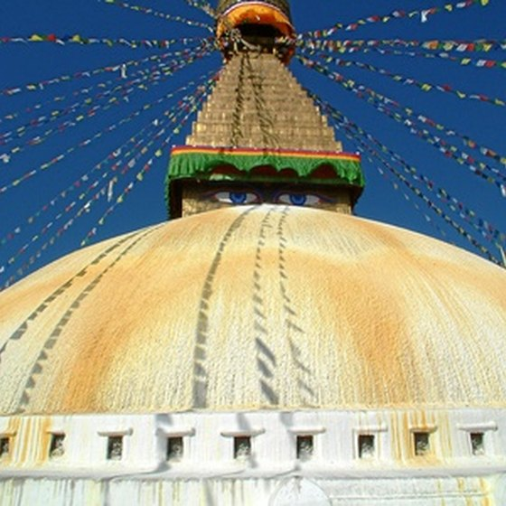 April is a good time to visit Nepal's Boudhanath.