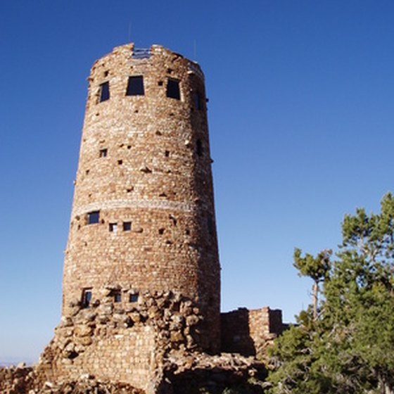 The watchtower at Desert View has an observatory and a gift shop.