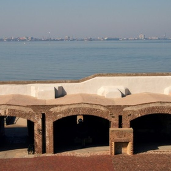 Fort Sumpter is a memorial to the Civil War in Charleston Bay, South Carolina