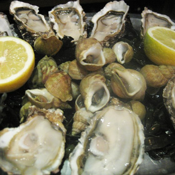 Fresh oysters, clams, shrimp and mussels are served at many Naples restaurants.