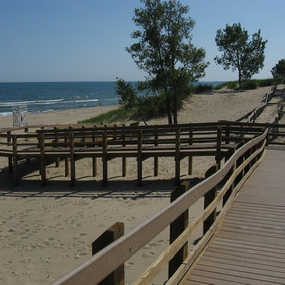 Lake Michigan is bordered by many sandy beaches.