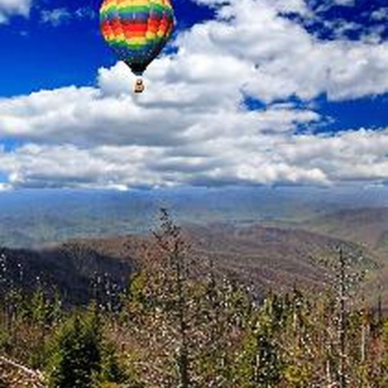 A hot air balloon over Great Smoky Mountains National Park