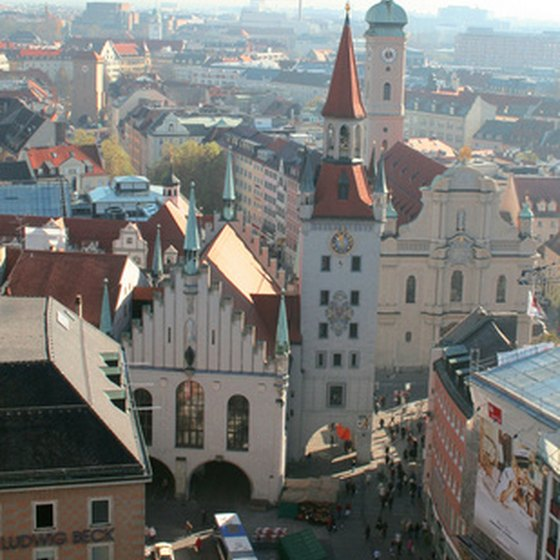 A bird's-eye view of Munich's city center.