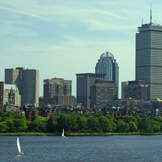 The Boston skyline and Boston Harbor on a summer day.