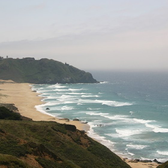 Federal campgrounds on the northern California coast feature sandy beaches and elevated bluffs.