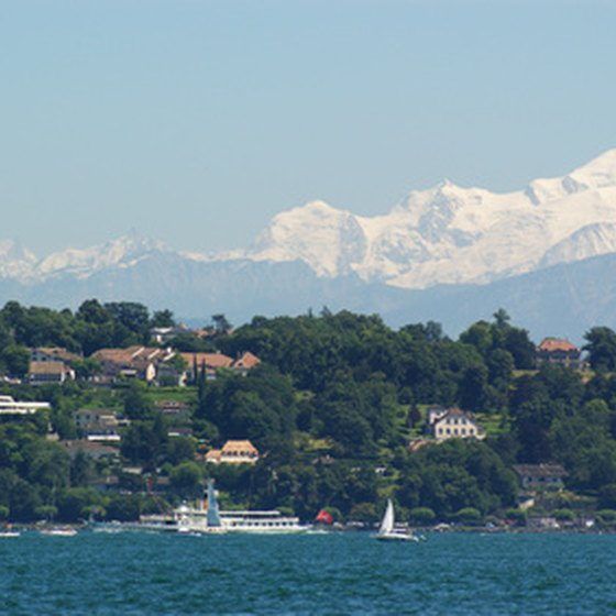 Views of the lake and mountains in Lake Geneva, Switzerland.