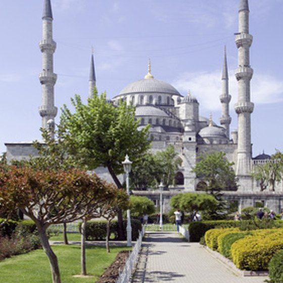 The Blue Mosque viewed from the Hippodrome in Istanbul's historic Sultanahmet district