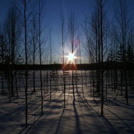 Sunrise over Lapland, a region north of the Arctic Circle that covers parts of Finland and Sweden.