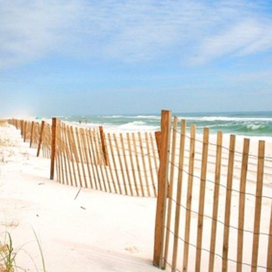 The white, sandy beach of Pensacola, Florida draws many visitors.